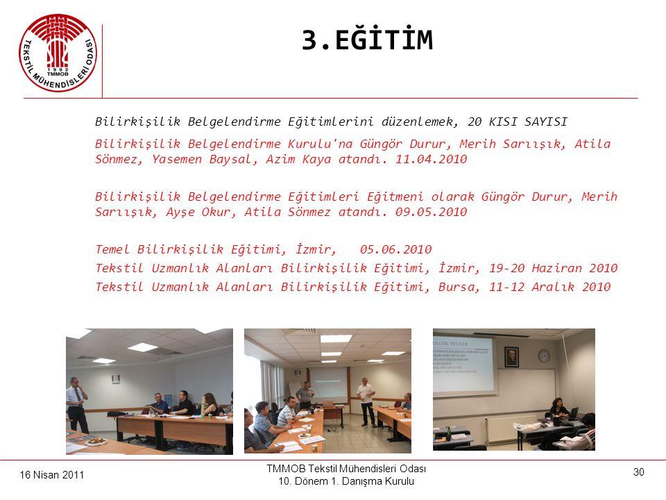 16 Nisan 2011 TMMOB Tekstil Mühendisleri Odası 10. Dönem 1. Danışma Kurulu 29 3.EĞİTİM Denizli'de Ağır ve Tehlikeli İşlerde çalışanların mesleki eğiti
