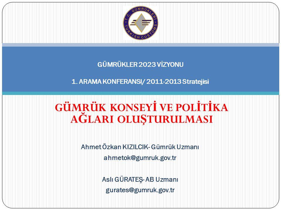 Ahmet Özkan KIZILCIK- Gümrük Uzmanı ahmetok@gumruk.gov.tr Aslı GÜRATEŞ- AB Uzmanı gurates@gumruk.gov.tr GÜMRÜKLER 2023 VİZYONU 1.