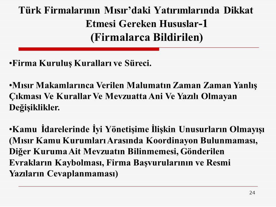 24 Türk Firmalarının Mısır'daki Yatırımlarında Dikkat Etmesi Gereken Hususlar -1 (Firmalarca Bildirilen) •Firma Kuruluş Kuralları ve Süreci. •Mısır Ma