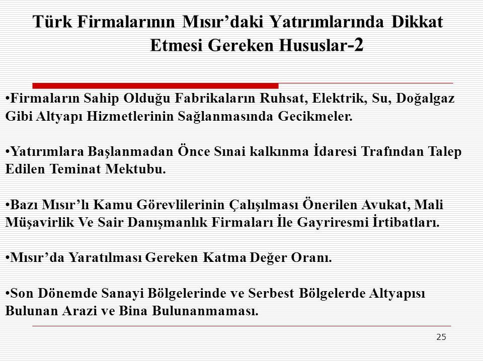 25 Türk Firmalarının Mısır'daki Yatırımlarında Dikkat Etmesi Gereken Hususlar -2 •Firmaların Sahip Olduğu Fabrikaların Ruhsat, Elektrik, Su, Doğalgaz