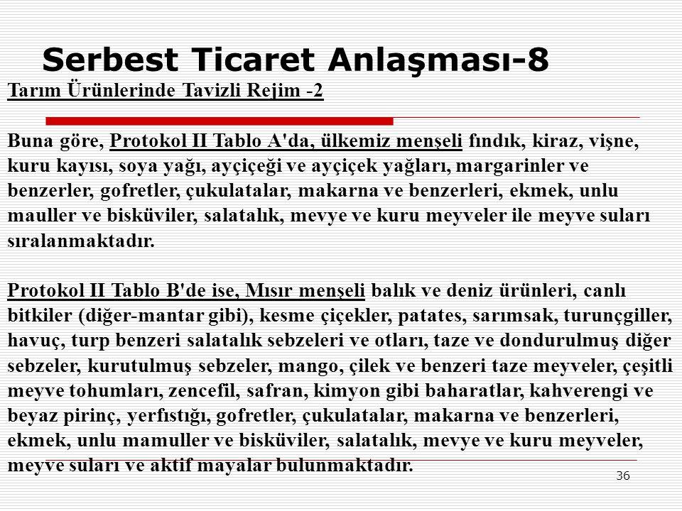 36 Serbest Ticaret Anlaşması-8 Tarım Ürünlerinde Tavizli Rejim -2 Buna göre, Protokol II Tablo A'da, ülkemiz menşeli fındık, kiraz, vişne, kuru kayısı