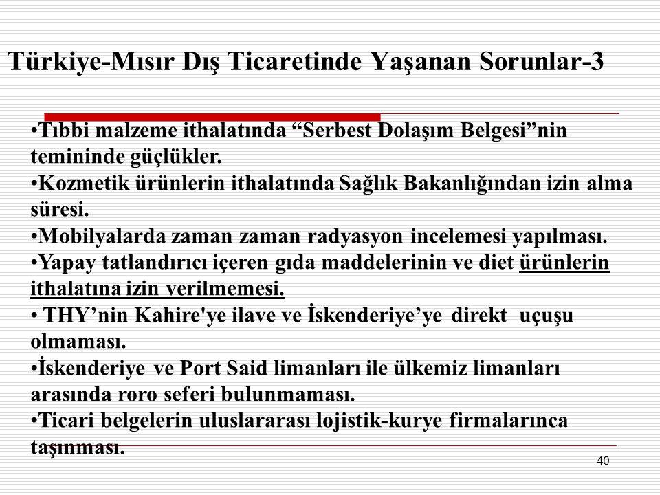 """40 Türkiye-Mısır Dış Ticaretinde Yaşanan Sorunlar-3 •Tıbbi malzeme ithalatında """"Serbest Dolaşım Belgesi""""nin temininde güçlükler. •Kozmetik ürünlerin i"""