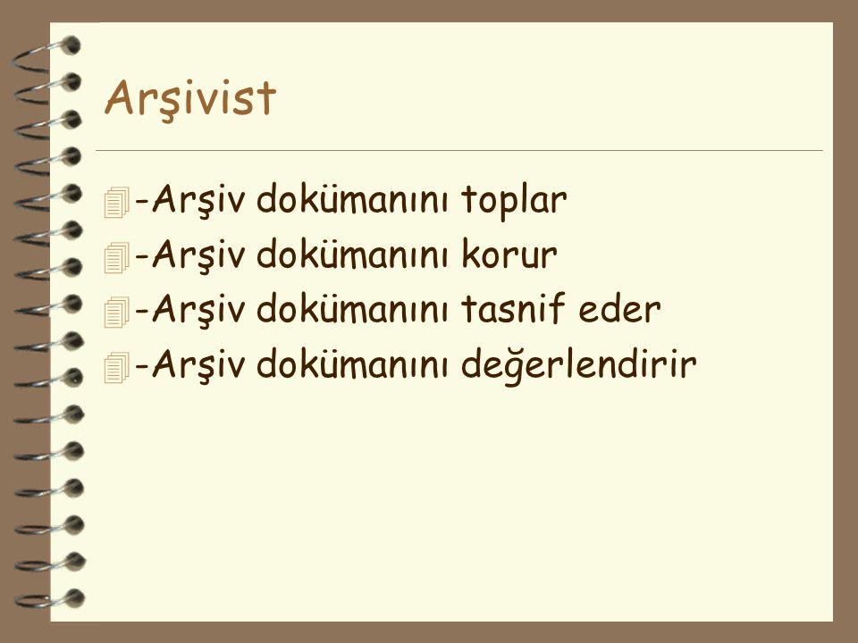 Arşivist 4 -Arşiv dokümanını toplar 4 -Arşiv dokümanını korur 4 -Arşiv dokümanını tasnif eder 4 -Arşiv dokümanını değerlendirir