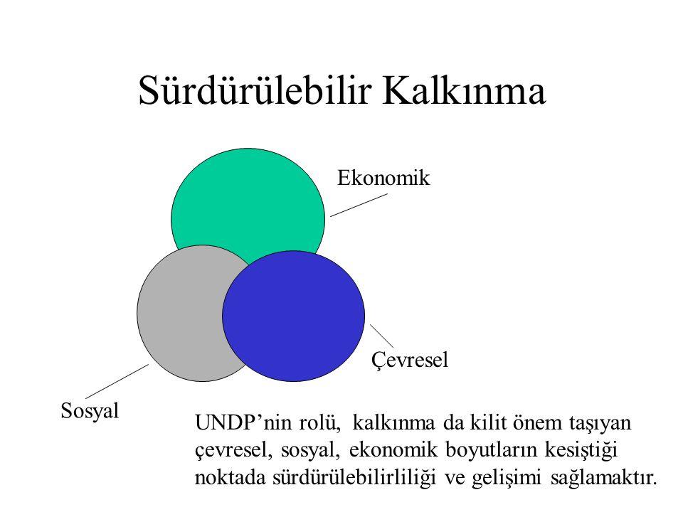 Sürdürülebilir Kalkınma Ekonomik Çevresel UNDP'nin rolü, kalkınma da kilit önem taşıyan çevresel, sosyal, ekonomik boyutların kesiştiği noktada sürdür