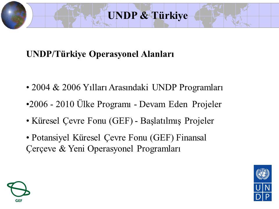 UNDP/Türkiye Operasyonel Alanları • 2004 & 2006 Yılları Arasındaki UNDP Programları •2006 - 2010 Ülke Programı - Devam Eden Projeler • Küresel Çevre F