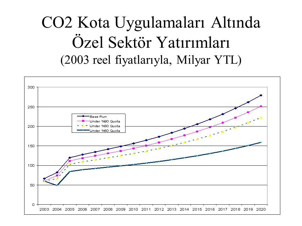 CO2 Kota Uygulamaları Altında Özel Sektör Yatırımları (2003 reel fiyatlarıyla, Milyar YTL)