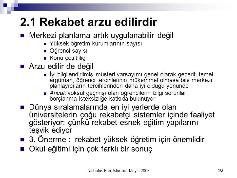 Nicholas Barr, İstanbul, Mayıs 2008 10 2.1 Rekabet arzu edilirdir  Merkezi planlama artık uygulanabilir değil  Yüksek öğretim kurumlarının sayısı 