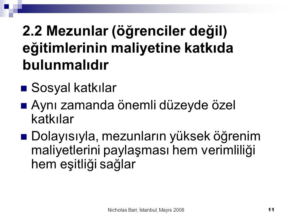 Nicholas Barr, İstanbul, Mayıs 2008 11 2.2 Mezunlar (öğrenciler değil) eğitimlerinin maliyetine katkıda bulunmalıdır  Sosyal katkılar  Aynı zamanda
