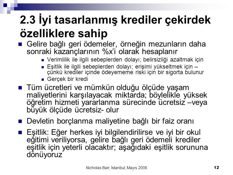 Nicholas Barr, İstanbul, Mayıs 2008 12 2.3 İyi tasarlanmış krediler çekirdek özelliklere sahip  Gelire bağlı geri ödemeler, örneğin mezunların daha s