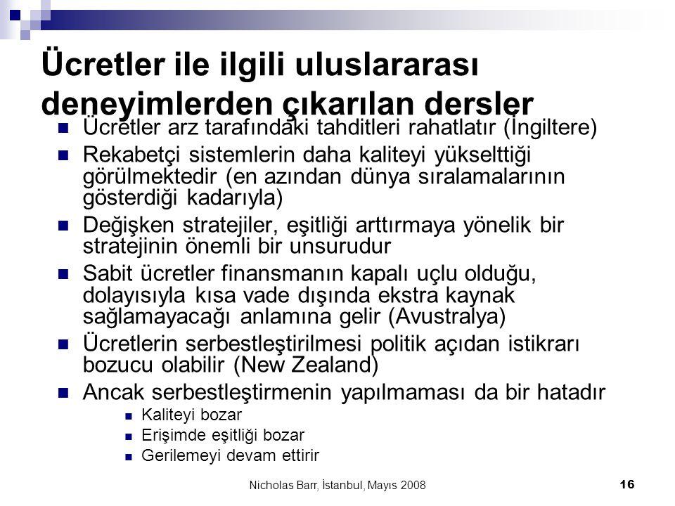 Nicholas Barr, İstanbul, Mayıs 2008 16 Ücretler ile ilgili uluslararası deneyimlerden çıkarılan dersler  Ücretler arz tarafındaki tahditleri rahatlat