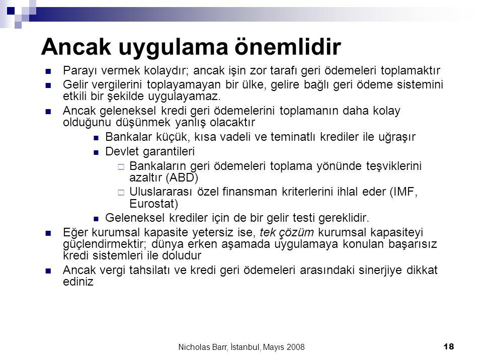 Nicholas Barr, İstanbul, Mayıs 2008 18 Ancak uygulama önemlidir  Parayı vermek kolaydır; ancak işin zor tarafı geri ödemeleri toplamaktır  Gelir ver