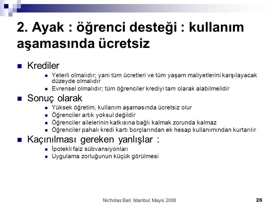 Nicholas Barr, İstanbul, Mayıs 2008 26 2. Ayak : öğrenci desteği : kullanım aşamasında ücretsiz  Krediler  Yeterli olmalıdır; yani tüm ücretleri ve