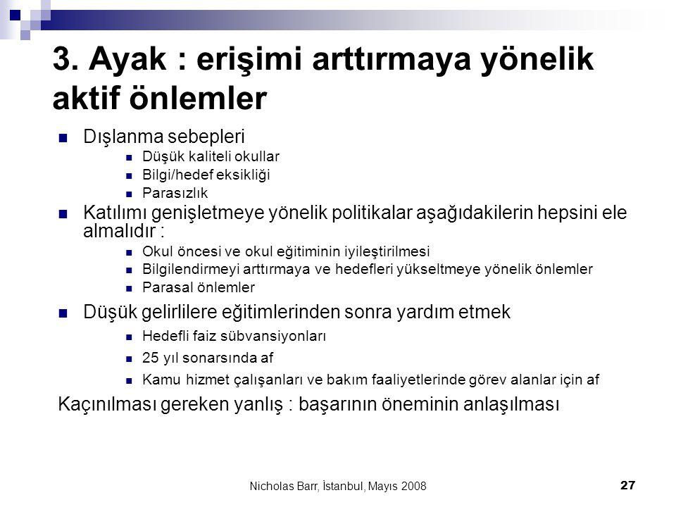 Nicholas Barr, İstanbul, Mayıs 2008 27 3. Ayak : erişimi arttırmaya yönelik aktif önlemler  Dışlanma sebepleri  Düşük kaliteli okullar  Bilgi/hedef
