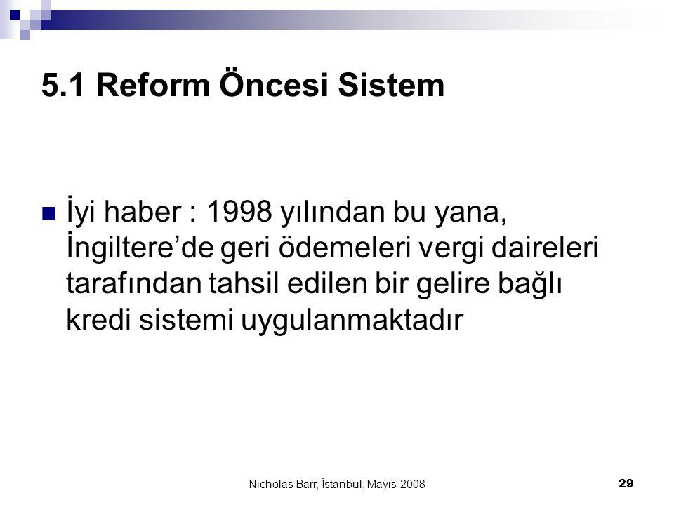 Nicholas Barr, İstanbul, Mayıs 2008 29 5.1 Reform Öncesi Sistem  İyi haber : 1998 yılından bu yana, İngiltere'de geri ödemeleri vergi daireleri taraf