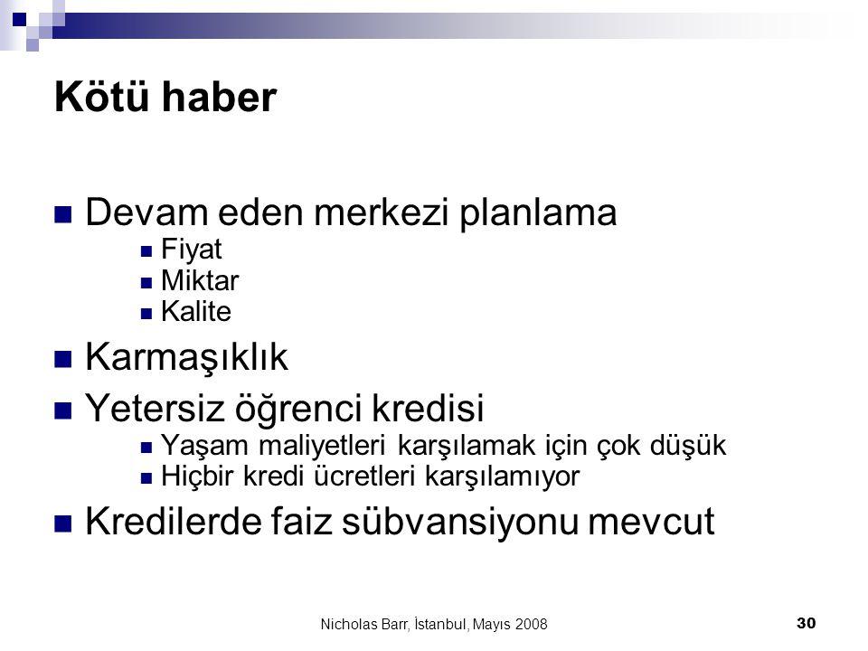 Nicholas Barr, İstanbul, Mayıs 2008 30 Kötü haber  Devam eden merkezi planlama  Fiyat  Miktar  Kalite  Karmaşıklık  Yetersiz öğrenci kredisi  Y