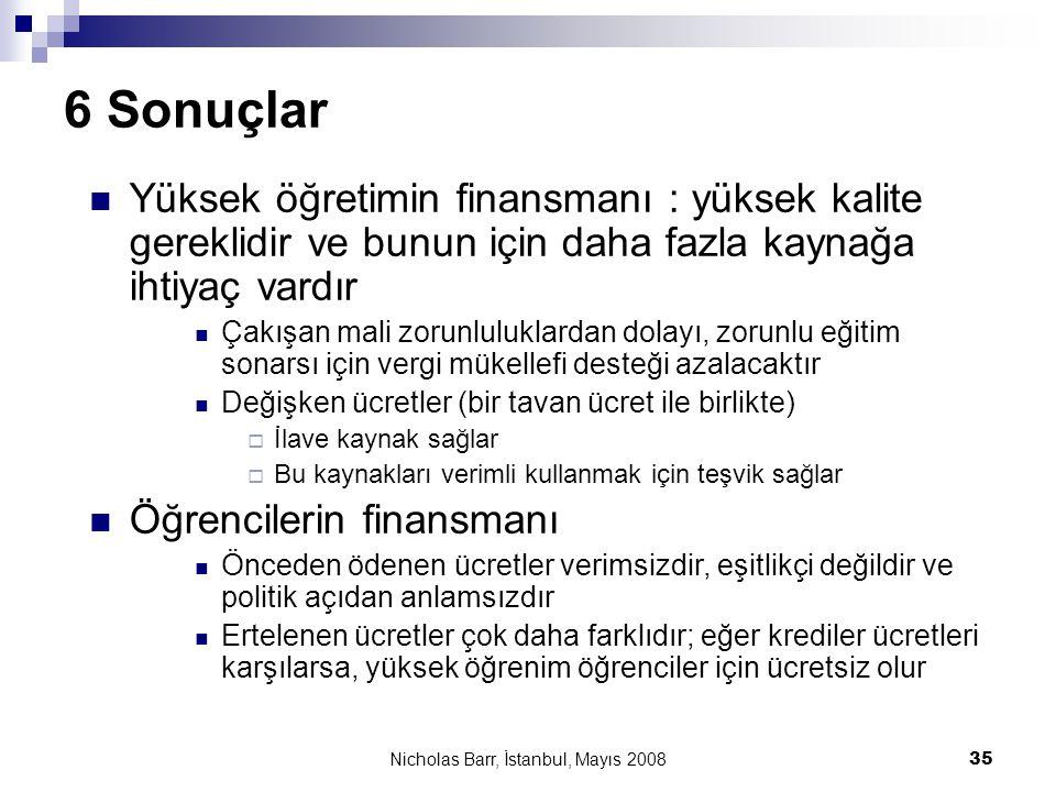 Nicholas Barr, İstanbul, Mayıs 2008 35 6 Sonuçlar  Yüksek öğretimin finansmanı : yüksek kalite gereklidir ve bunun için daha fazla kaynağa ihtiyaç va