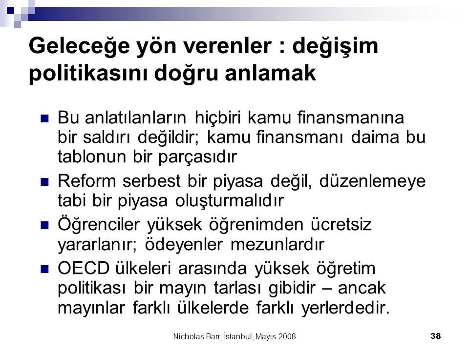 Nicholas Barr, İstanbul, Mayıs 2008 38 Geleceğe yön verenler : değişim politikasını doğru anlamak  Bu anlatılanların hiçbiri kamu finansmanına bir sa