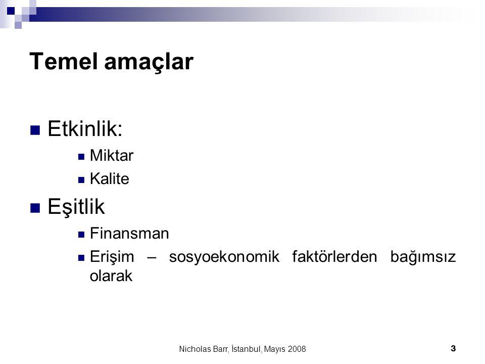 Nicholas Barr, İstanbul, Mayıs 2008 3 Temel amaçlar  Etkinlik:  Miktar  Kalite  Eşitlik  Finansman  Erişim – sosyoekonomik faktörlerden bağımsız