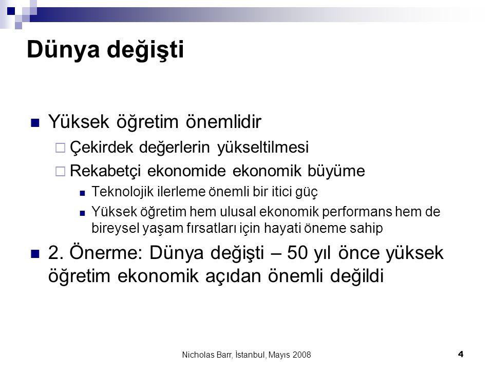 Nicholas Barr, İstanbul, Mayıs 2008 35 6 Sonuçlar  Yüksek öğretimin finansmanı : yüksek kalite gereklidir ve bunun için daha fazla kaynağa ihtiyaç vardır  Çakışan mali zorunluluklardan dolayı, zorunlu eğitim sonarsı için vergi mükellefi desteği azalacaktır  Değişken ücretler (bir tavan ücret ile birlikte)  İlave kaynak sağlar  Bu kaynakları verimli kullanmak için teşvik sağlar  Öğrencilerin finansmanı  Önceden ödenen ücretler verimsizdir, eşitlikçi değildir ve politik açıdan anlamsızdır  Ertelenen ücretler çok daha farklıdır; eğer krediler ücretleri karşılarsa, yüksek öğrenim öğrenciler için ücretsiz olur