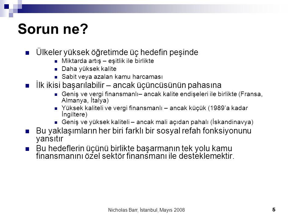 Nicholas Barr, İstanbul, Mayıs 2008 5 Sorun ne?  Ülkeler yüksek öğretimde üç hedefin peşinde  Miktarda artış – eşitlik ile birlikte  Daha yüksek ka