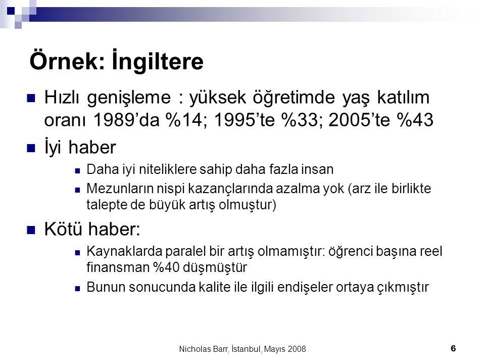 Nicholas Barr, İstanbul, Mayıs 2008 37 Politika tasarımında yanlış yol göstericiler  Yüksek öğrenim bir temel haktır; dolayısıyla ücretsiz olmalıdır  Gıda da bir temel haktır, ancak piyasa dağılımı tamamen kabul edilmiştir  Eğitim için ücret almak ahlaki değildir  Asıl ahlaki olmayan, yoksul bir geçmişi olan parlak bir kişinin üst düzey bir kurumda öğrenim görememesidir  Ahlaklılık araç ile değil sonuç ile ölçülmelidir  Yüksek öğretimde seçkinciliğin yeri yoktur  Sosyal seçkincilik ile entelektüel seçkinciliği birbirinden ayırın– ikincisi hem gereklidir hem de arzu edilir.