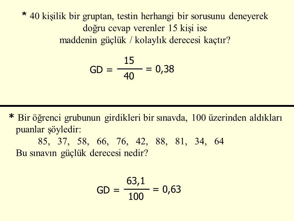 * 40 kişilik bir gruptan, testin herhangi bir sorusunu deneyerek doğru cevap verenler 15 kişi ise maddenin güçlük / kolaylık derecesi kaçtır.