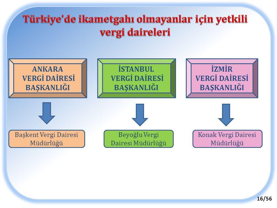 ANKARA VERGİ DAİRESİ BAŞKANLIĞI İSTANBUL VERGİ DAİRESİ BAŞKANLIĞI İZMİR VERGİ DAİRESİ BAŞKANLIĞI Başkent Vergi Dairesi Müdürlüğü Beyoğlu Vergi Dairesi