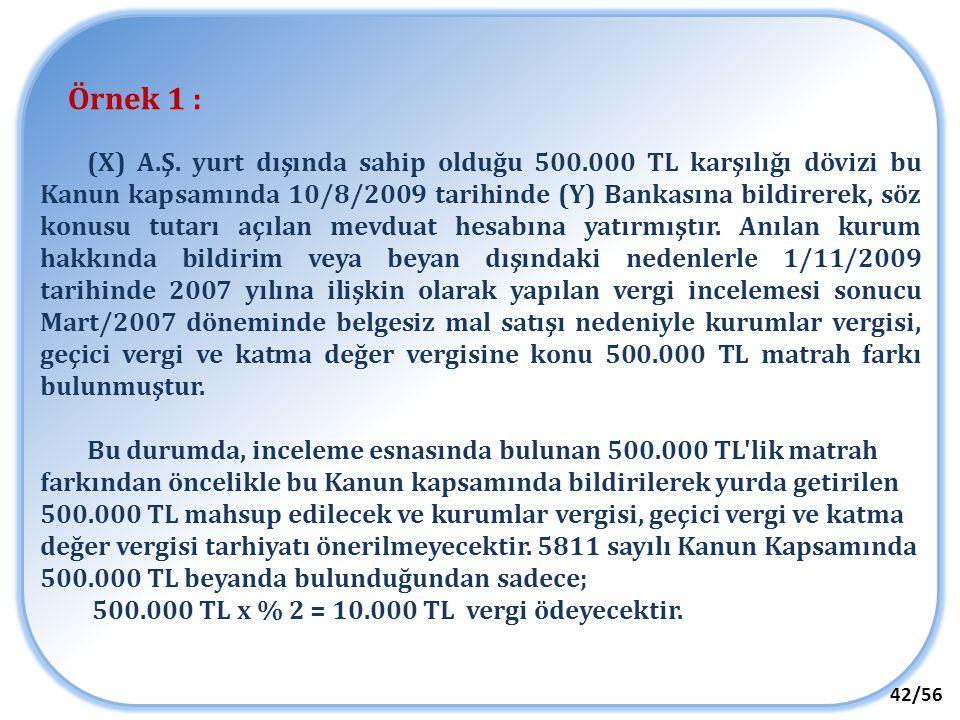 42/56 Örnek 1 : (X) A.Ş. yurt dışında sahip olduğu 500.000 TL karşılığı dövizi bu Kanun kapsamında 10/8/2009 tarihinde (Y) Bankasına bildirerek, söz k