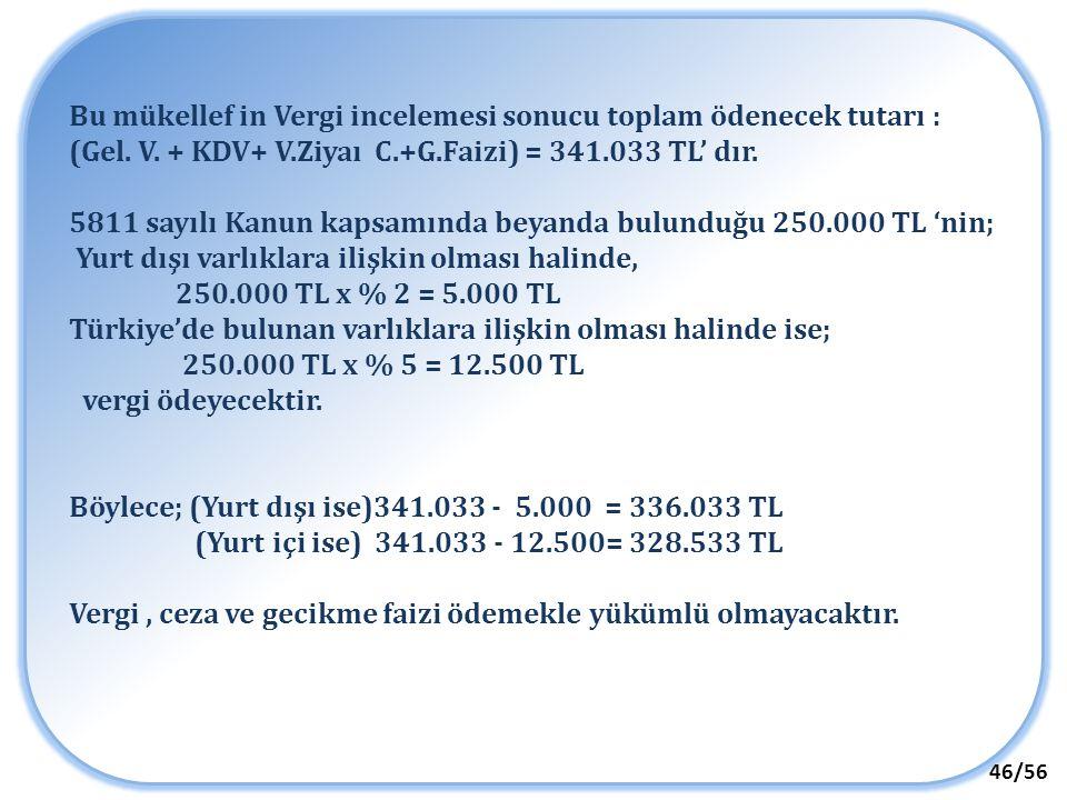46/56 Bu mükellef in Vergi incelemesi sonucu toplam ödenecek tutarı : (Gel. V. + KDV+ V.Ziyaı C.+G.Faizi) = 341.033 TL' dır. 5811 sayılı Kanun kapsamı