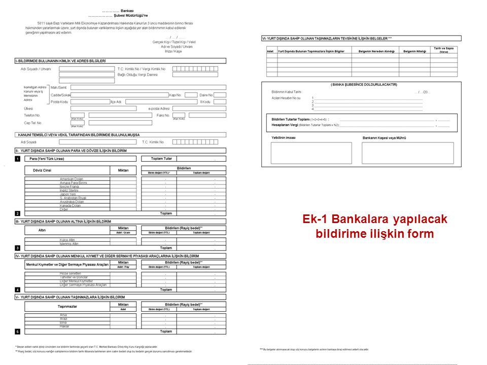 57 Ek-1 Bankalara yapılacak bildirime ilişkin form