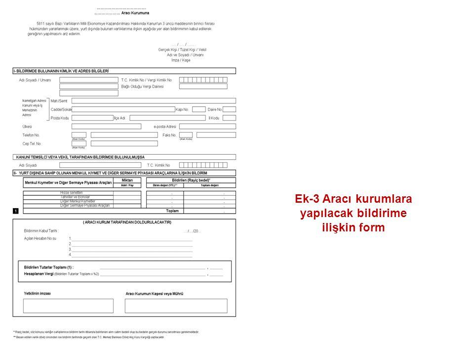 Ek-3 Aracı kurumlara yapılacak bildirime ilişkin form