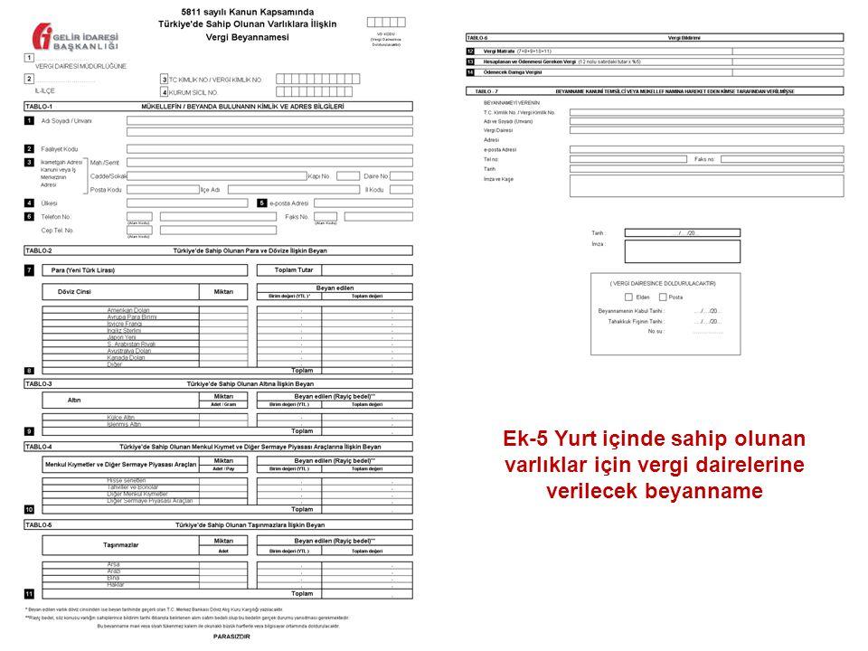 61 Ek-5 Yurt i ç inde sahip olunan varlıklar i ç in vergi dairelerine verilecek beyanname