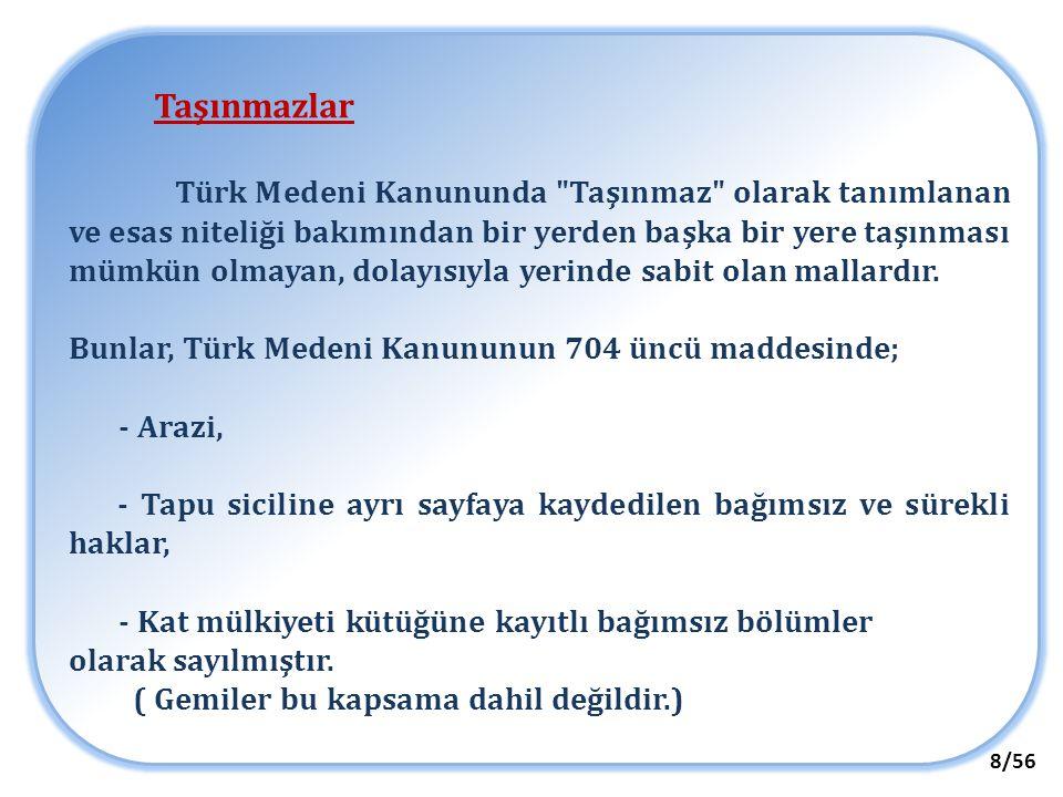 Taşınmazlar Türk Medeni Kanununda