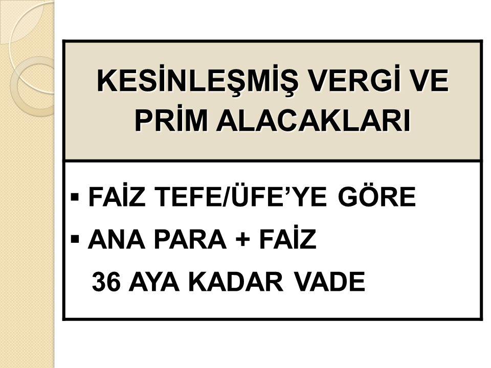 KESİNLEŞMİŞ VERGİ VE PRİM ALACAKLARI  FAİZ TEFE/ÜFE'YE GÖRE  ANA PARA + FAİZ 36 AYA KADAR VADE