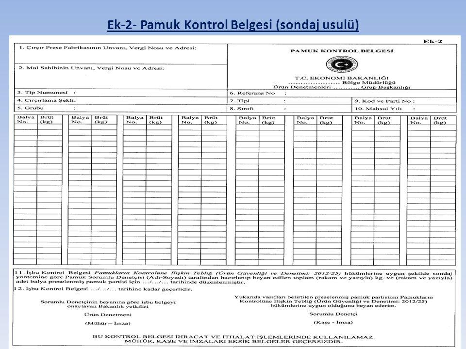 Ek-2- Pamuk Kontrol Belgesi (sondaj usulü)