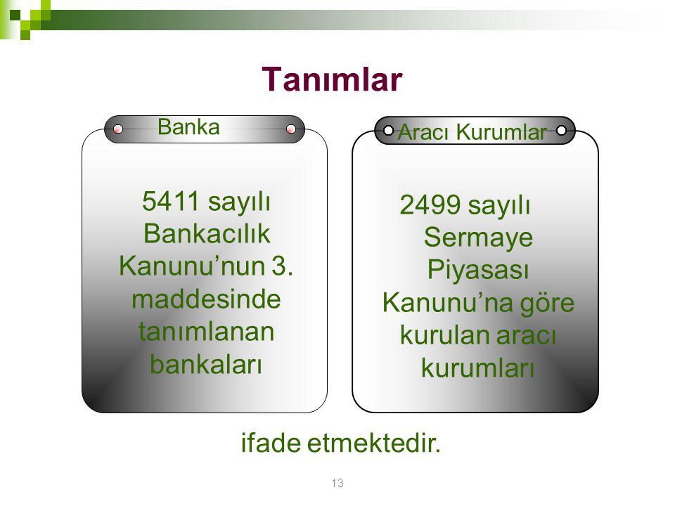 13 Tanımlar 5411 sayılı Bankacılık Kanunu'nun 3. maddesinde tanımlanan bankaları 2499 sayılı Sermaye Piyasası Kanunu'na göre kurulan aracı kurumları B