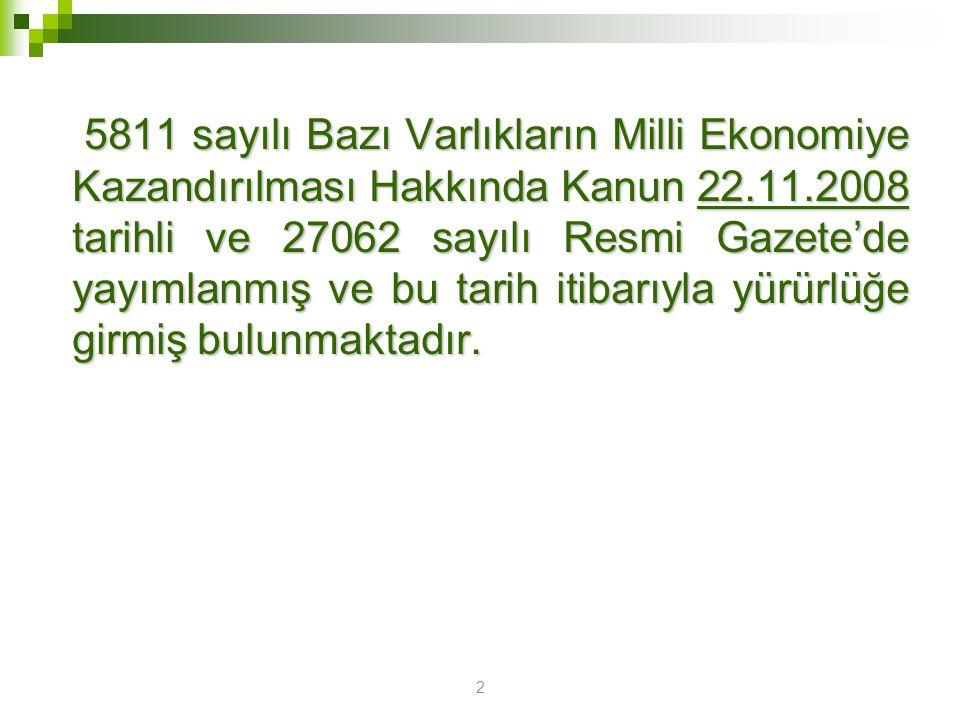 3 5811 sayılı Kanuna İlişkin Genel Tebliğ 5811 sayılı Bazı Varlıkların Milli Ekonomiye Kazandırılması Hakkında Kanuna İlişkin Genel Tebliğ ise 06.12.2008 tarihli ve 27076 sayılı Resmi Gazete'de yayımlanmıştır.