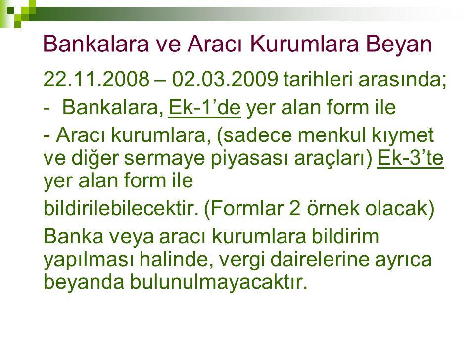 Bankalara ve Aracı Kurumlara Beyan 22.11.2008 – 02.03.2009 tarihleri arasında; - Bankalara, Ek-1'de yer alan form ile - Aracı kurumlara, (sadece menku
