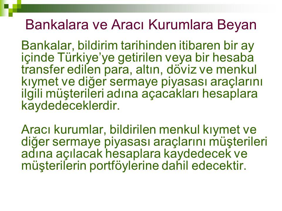 Bankalara ve Aracı Kurumlara Beyan Bankalar, bildirim tarihinden itibaren bir ay içinde Türkiye'ye getirilen veya bir hesaba transfer edilen para, alt