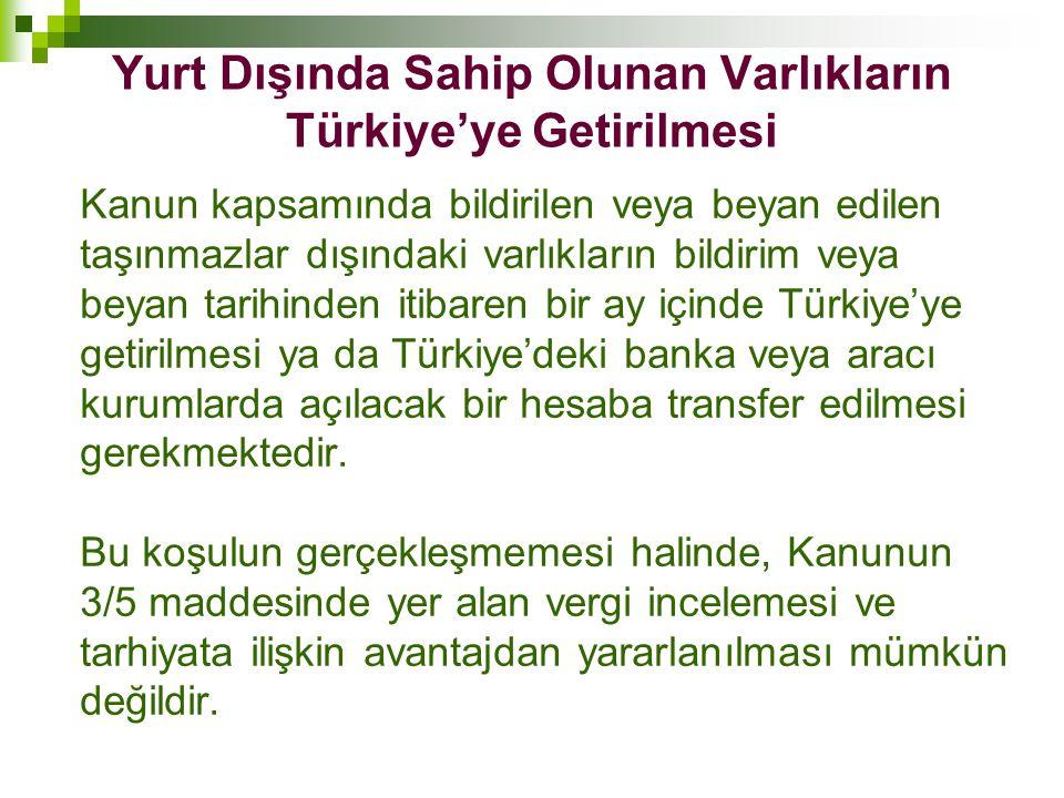 Yurt Dışında Sahip Olunan Varlıkların Türkiye'ye Getirilmesi Kanun kapsamında bildirilen veya beyan edilen taşınmazlar dışındaki varlıkların bildirim