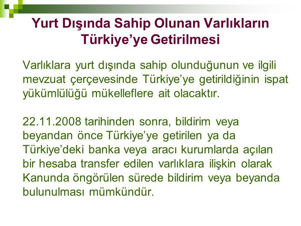 Yurt Dışında Sahip Olunan Varlıkların Türkiye'ye Getirilmesi Varlıklara yurt dışında sahip olunduğunun ve ilgili mevzuat çerçevesinde Türkiye'ye getir