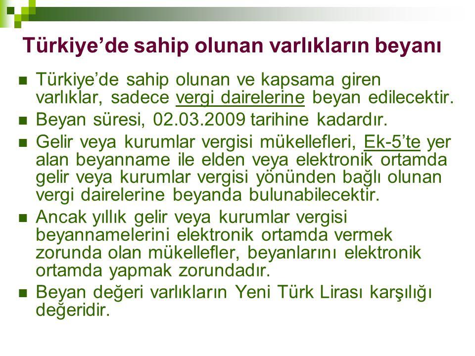 Türkiye'de sahip olunan varlıkların beyanı  Türkiye'de sahip olunan ve kapsama giren varlıklar, sadece vergi dairelerine beyan edilecektir.  Beyan s