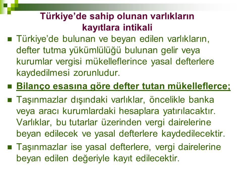 Türkiye'de sahip olunan varlıkların kayıtlara intikali  Türkiye'de bulunan ve beyan edilen varlıkların, defter tutma yükümlülüğü bulunan gelir veya k