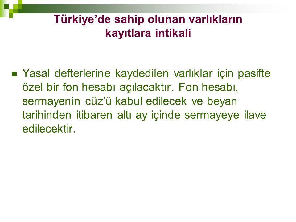 Türkiye'de sahip olunan varlıkların kayıtlara intikali  Yasal defterlerine kaydedilen varlıklar için pasifte özel bir fon hesabı açılacaktır. Fon hes