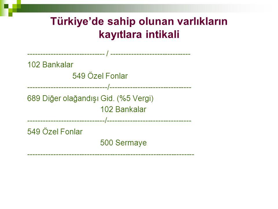 Türkiye'de sahip olunan varlıkların kayıtlara intikali ------------------------------ / ------------------------------- 102 Bankalar 549 Özel Fonlar -