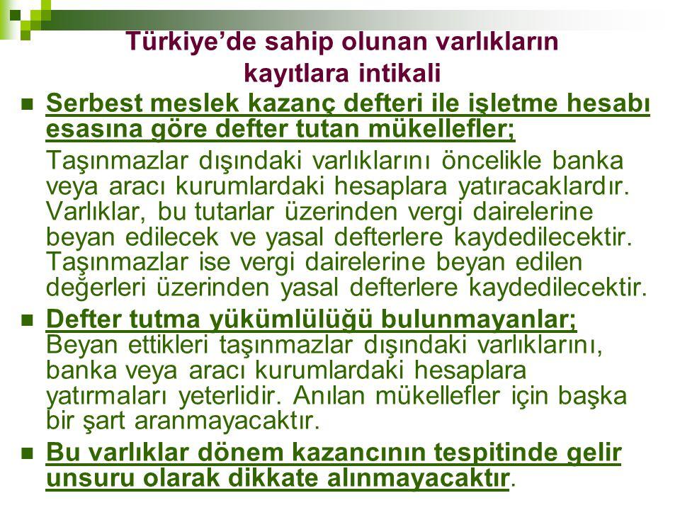 Türkiye'de sahip olunan varlıkların kayıtlara intikali  Serbest meslek kazanç defteri ile işletme hesabı esasına göre defter tutan mükellefler; Taşın