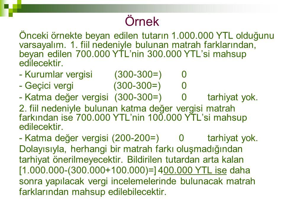 Örnek Önceki örnekte beyan edilen tutarın 1.000.000 YTL olduğunu varsayalım. 1. fiil nedeniyle bulunan matrah farklarından, beyan edilen 700.000 YTL'n