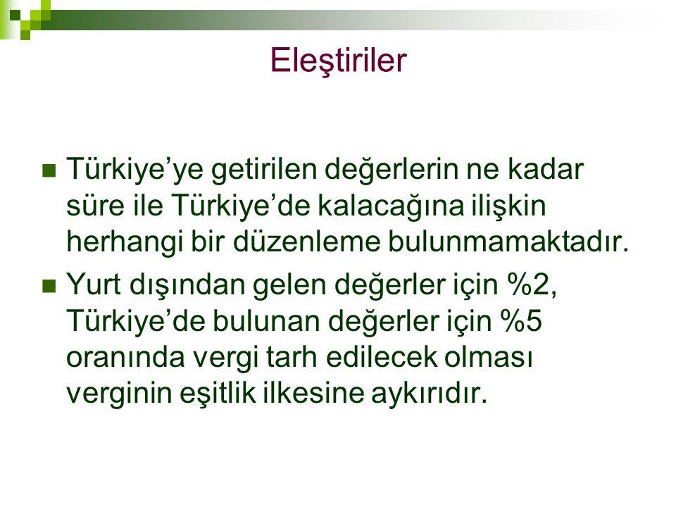  Türkiye'ye getirilen değerlerin ne kadar süre ile Türkiye'de kalacağına ilişkin herhangi bir düzenleme bulunmamaktadır.  Yurt dışından gelen değerl