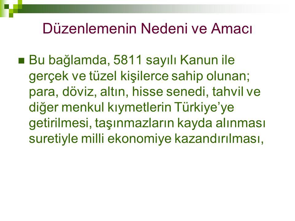  Bu bağlamda, 5811 sayılı Kanun ile gerçek ve tüzel kişilerce sahip olunan; para, döviz, altın, hisse senedi, tahvil ve diğer menkul kıymetlerin Türk