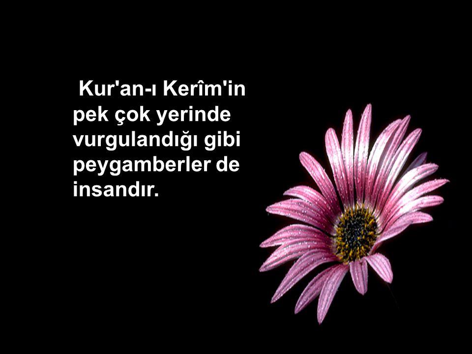 Kur'an-ı Kerîm'in pek çok yerinde vurgulandığı gibi peygamberler de insandır.